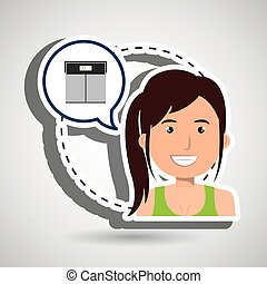 woman heart cardio gym vector illustration eps 10