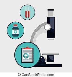 microscope clipboard medicine icon