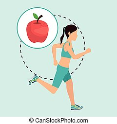 woman run sport health vector illustration graphic