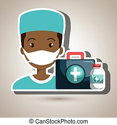 nurse man first aid medicine vector illustration graphic
