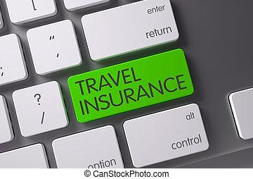 Green Travel Insurance Key on Keyboard 3D Rendering - Travel...