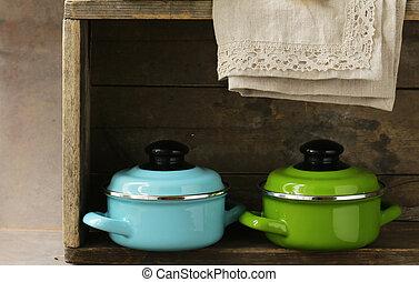 set of metal pots cookware