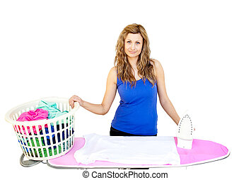 Smiling woman behind an ironing board against white...