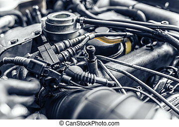 Under the hood of the car. Toned photo.