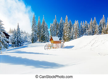 Game Childrens Complex in beautiful mountain snowy landscape...