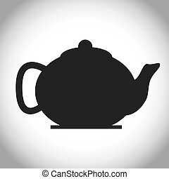 Black and isolated tea kettle design - Silhouette of tea...