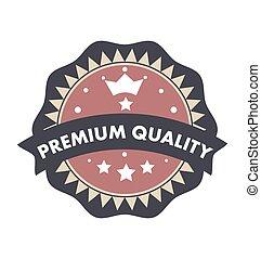 Premium quality text badge label