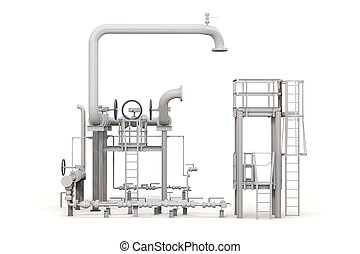 3d render of oil refinery on white