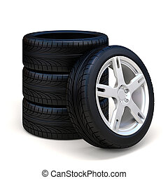 3d tire and alloy wheel on white ba - 3d tires and alloy...