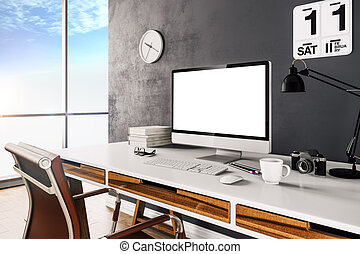 3d render of modern computer workplace setup