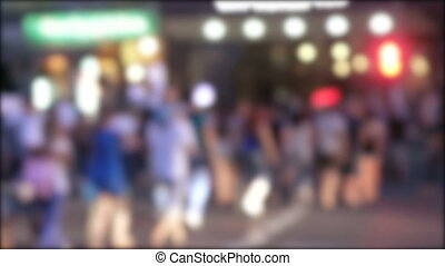 Movement of people in transition passage - Blurred image of...