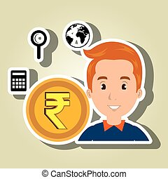 man coin money icons
