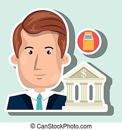man building bank money