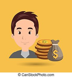 man bag money currency vector illustratin eps10