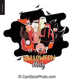 Halloween Party greeting card - Halloween Party card with...