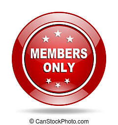 members only red web glossy round icon - members only round...