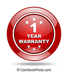 warranty guarantee 1 year red web glossy round icon -...