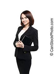 Successful smiling business woman isolated over white -...
