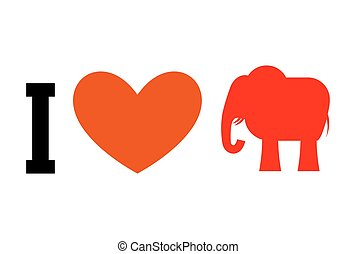 I love Republican. Symbol of elephant and heart. Poster for elections in USA. Political debate in America. Patriotic emblem for United States