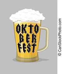 Oktoberfest typography. Mug Beer and lettering. Alcohol for...
