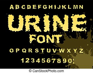 Urine font. Yellow liquid ABC. piss typography. wee-wee...
