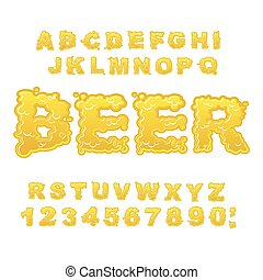 Beer ABC. Alcoholic alphabet. drink letters. Yellow liquid font. Flowable typography