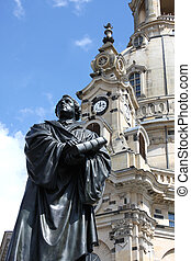 Statue of Martin Luther in front of the Frauenkirche in...