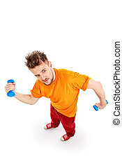 sports concept - Laughing young man with dumbbells. Sports,...