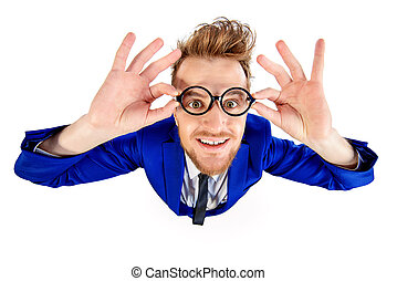 funny looking man - Funny smart guy in a suit and spectacles...