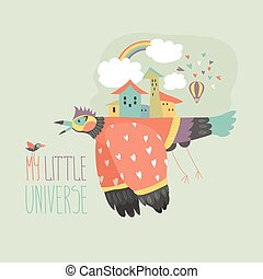 Big bird carries the city on his back Vector illustration
