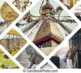 Collage of Kathmandu (Nepal) images - travel background (my...