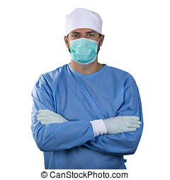 surgeon with face mask isolated on white background