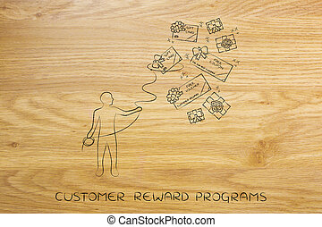person with lasso catching free coupons, client rewards -...