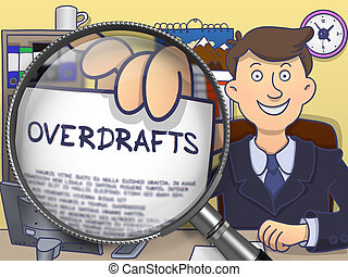 Overdrafts through Magnifying Glass. Doodle Concept.