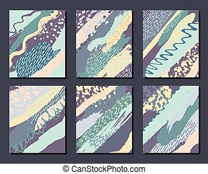 Collection of artistic creative universal cards templates....