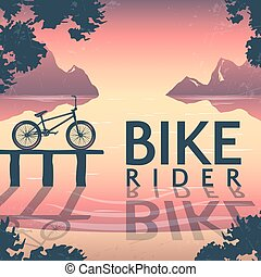 BMX Bike Riding Poster - BMX bike riding poster with bicycle...