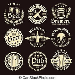 Light Beer Emblem Set - Light beer emblem set with different...