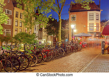 Utrecht. City street in night light. - Traditional urban...