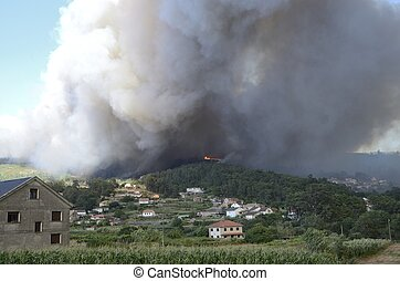 Fire in Galicia - Fire in a village of Soutomaior, a...