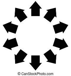 grupo, de, flechas, siguiente, Un, círculo, Señalar,...