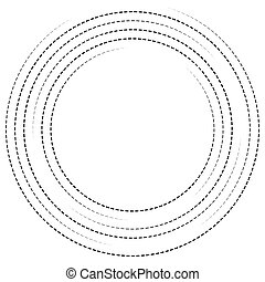 Concentric circles with dashed lines Circular spiral element...