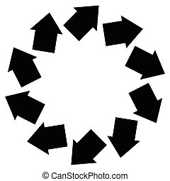 Concentric arrows symbol to illustrate rotation, gyration,...