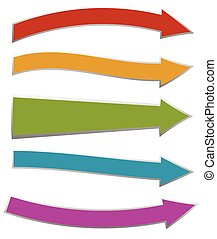 Colorful arrows pointing right 5 shape and colors