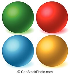 Set of 4 spheres with glowing shadow. Spatial, 3d balls, orbs.