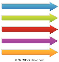 Straight 3d arrows in several colors. Arrow shapes.
