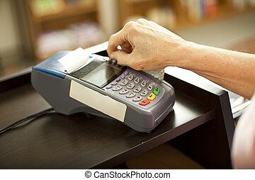 swiping, crédito, cartão