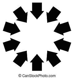 grupo, de, flechas, siguiente, Un, círculo, Señalar, inwards