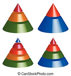 Pyramid, cone charts 3-2-5-4 levels Multilevel triangle 3d...