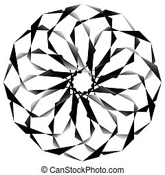 Radial, spirally geometric decorative element - Abstract...