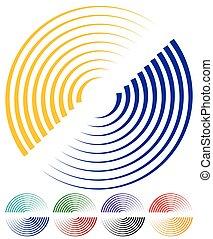 concéntrico, círculos, señal, Espiral, formas, más, colores,...